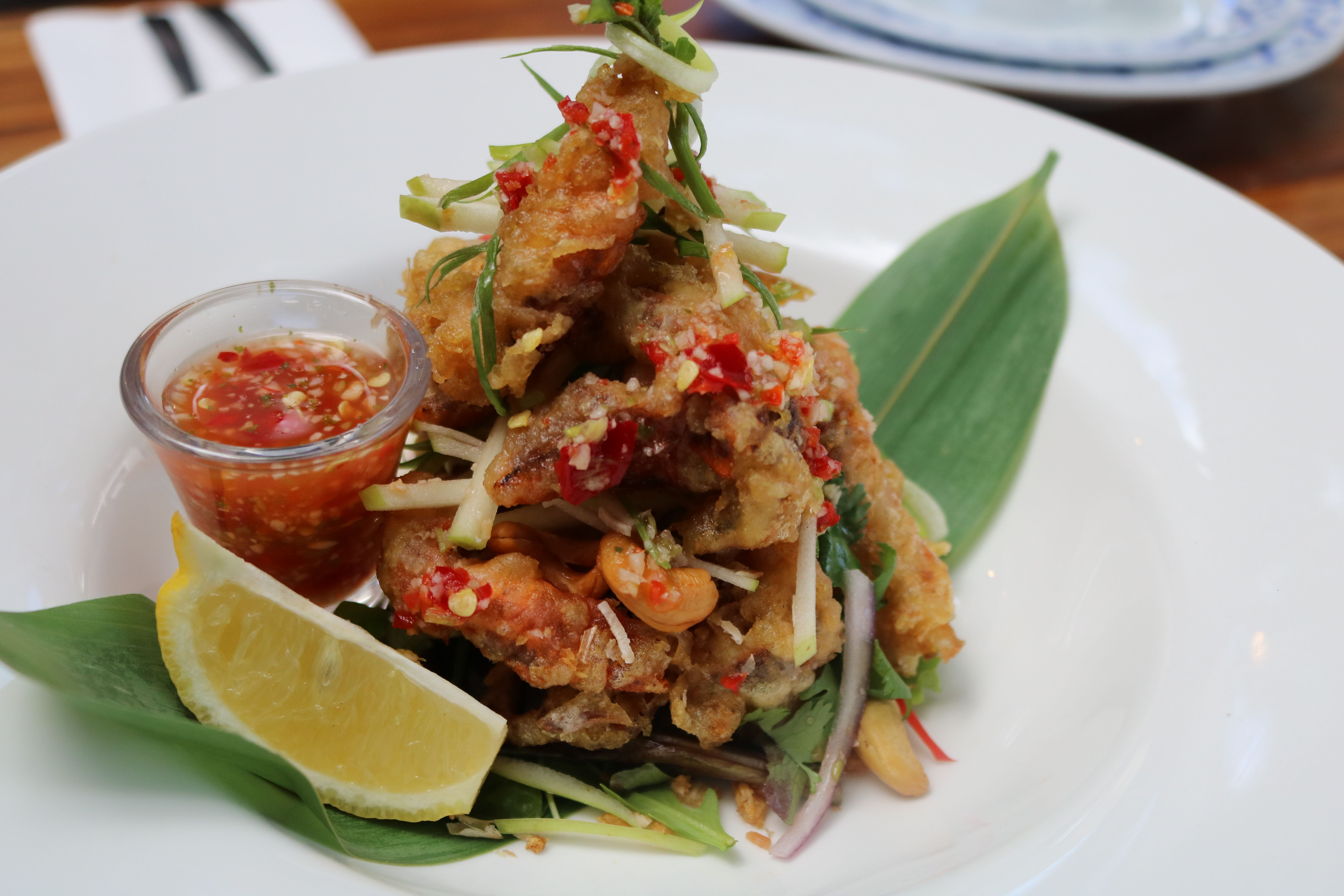 Soft shell crab with green apple salad