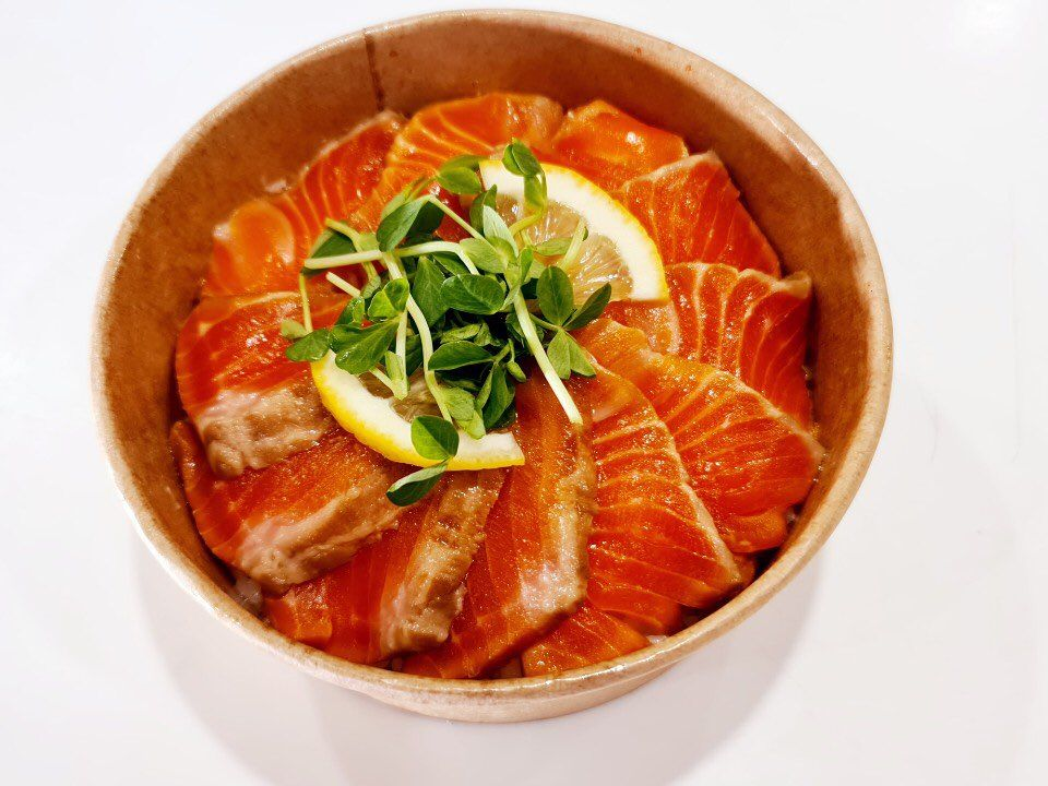 Salmon Sashimi Don