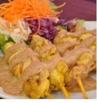 Snack Pack - Chicken satay with coconut rice and vegetarian spring roll