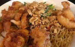 Dry Egg Noodles and Crispy Chicken